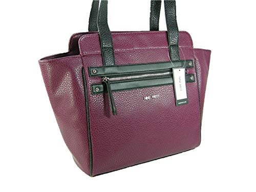 New Nine West Logo Purse Shoulder Hand Bag Satchel Tote Get Poppin Cranberry ()