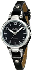 XOXO Women's XO3396 Silver-Tone Watch with Black Synthetic Leather Band