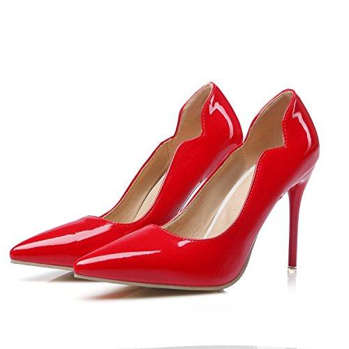 CSDM Donne Scarpe da sposa Stiletto Heel Patent Leather Punta punta Pattinaggio Bocca Shallow Big Size Albicocca Giallo Bianco Rosso , red , 41 custom 2-4 days do not return