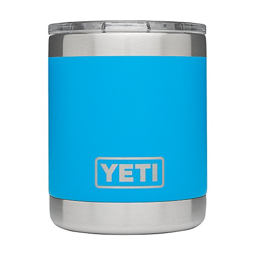 YETI Rambler 10oz Vacuum Insulated Stainless Steel Lowball with Lid, Tahoe Blue DuraCoat