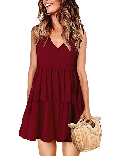 (Kaei&Shi A-Line Dresses for Women,Flowy Swing Ruffle Sun Dress,Loose High Waist Sundresses,Tunic Tank Dress 1xl Burgundy X-Large)