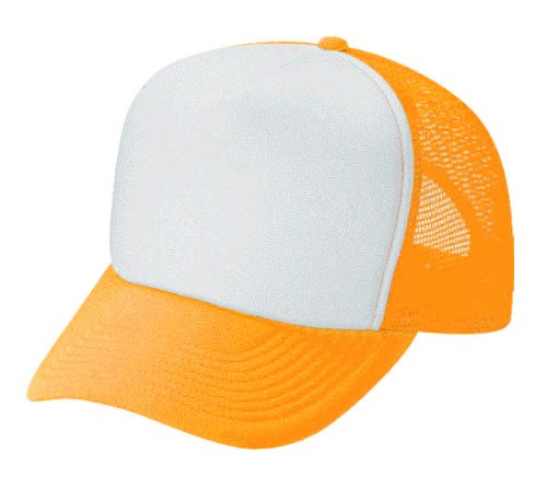 c8507ae9edc6d Image Unavailable. Image not available for. Color  Blank White   Neon  Orange Mesh Trucker Hat Cap