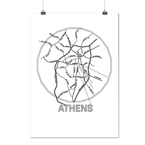 Athens City Map Fashion Big Old Town Matte/Glossy Poster A3 Wellcoda