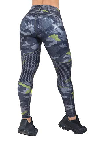 FP Sportswear Many Colors of Crossfit Leggings Jeans Women Colombian Yoga Pants Compression Tights (Camogreen)