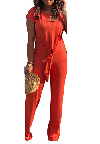 Ophestin Women Casual Ribbed 2 Piece Outfits Jumpsuits Short Sleeve Tie Front Top + Pockets Wide Leg Long Pants Set Red XXL
