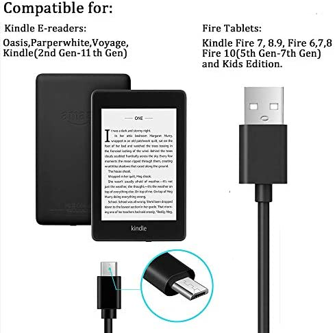 Kindle Charger 6.5 Ft Compatible for All Amazon Kindle Paperwhite,Oasis,Voyage,Kindle E-Reader,Kindle DX Kindle Keyboard Kindle Touch(2nd-11th Gen),Fire HD,HDX Tablet 5