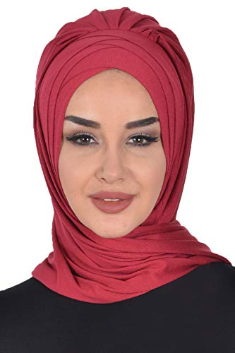 Jersey Shawl for Women Cotton Wrap Instant Modesty Turban Cap Scarf Maroon