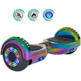"""NHT 6.5"""" inch Aurora Hoverboard Self Balancing Scooter with Colorful LED Wheels and Lights- UL2272 Certified Carbon Fiber Style Available (Rainbow) (Rainbow)"""