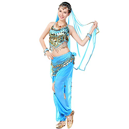 Maylong Womens Halter Top Belly Dance Outfit Halloween Costume DW22 (Sky Blue) -