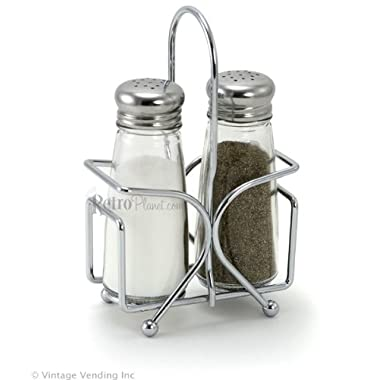 Salt and Pepper Shaker Set with Rack