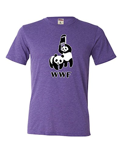 XX-Large Purple Adult WWF Funny Fighting Pandas Triblend ...