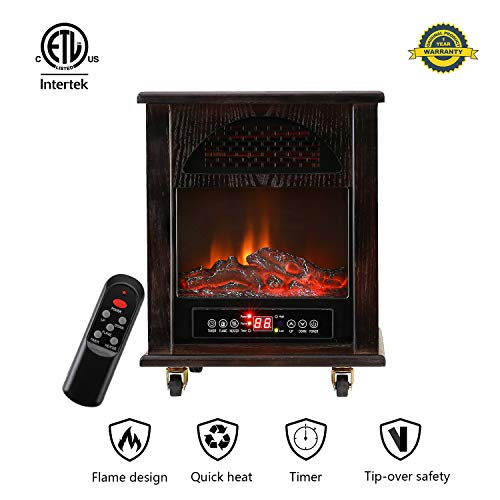 Cheap KOOLWOOM Portable Electrci Space Heater Infrared Zone Heating Systems with Thermostat for Office and Home Tip-Over and overheat Protection Remote Control 12hr Timer & Filter 750W-1500W Dark Walnut Black Friday & Cyber Monday 2019