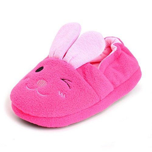 Automne Hiver Baby Slippers Antiskid Filles Chaussures Mignon Pink Rabbit Indoor Chaussures (Couleur: rose) (Taille: 13-14)