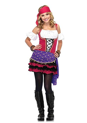 [3pc. Crystal Ball Gypsy Dress With Ruffle Skirt Arm Puffs Head Scarf Costume Bundle with Rave] (Gypsy Costume Head Scarf)