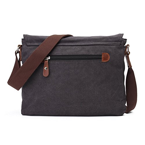 DricRoda Vintage Canvas Briefcase Cross Body Shoulder Bag,Large Capacity Messenger Laptop Satchel Bag with Durable Adjustable Cotton Braided Shoulder Strap for Laptops up to 10 Inches,Black by DricRoda (Image #2)