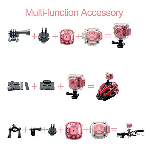 AKAMATE Kids Action Camera Waterproof Video Digital Children Cam 1080P HD Sports Camera Camcorder for Boys Girls, Build-in 3 Games, 32GB SD Card (Pink) by AKAMATE (Image #8)