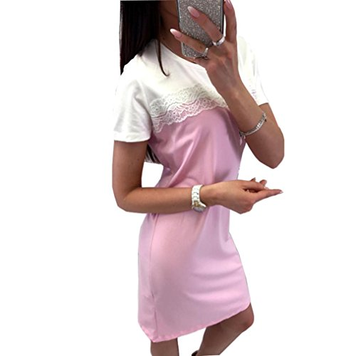 Spitze Spliced Frauen Kurzarm Kleid Rosa Taottao Minikleider Party Cocktail