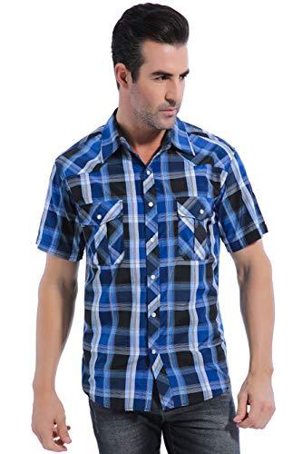 Coevals Club Men's Casual Plaid Snap Front Short Sleeve Shirt (Blue / black #4, S)