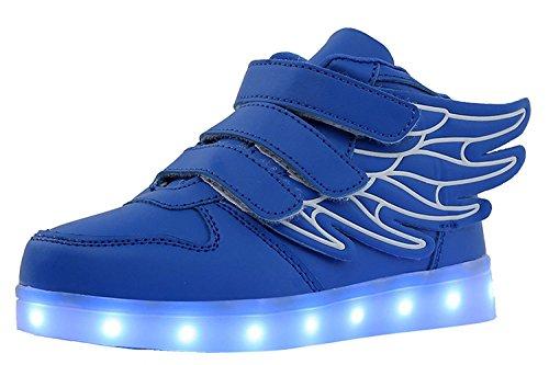 Aidonger Unisex Kinder LED Schuhe 7 Farbe Farbwechsel Turnschuhe USB Aufladen LED Sneaker Leuchtend Schuhe Blau