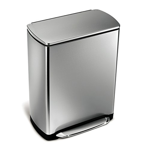 simplehuman cw2007 cubo para reciclaje rectangular con pedal amplio de acero inoxidable. Black Bedroom Furniture Sets. Home Design Ideas