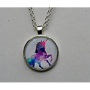 Magical Rainbow Unicorn Glass Dome Circle Pendant Necklace 24 Inch Chain Jewelry