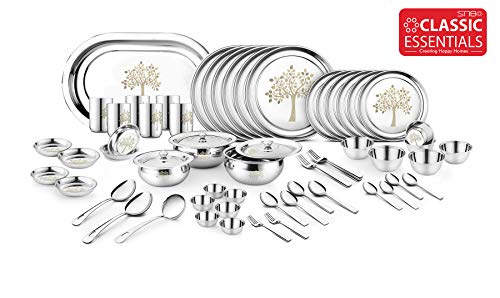 Classic Essentials Stainless Steel Vriksha Dinner Set,68-Pieces,Silver -Heavy Gauge with Permanent Laser Design Price & Reviews