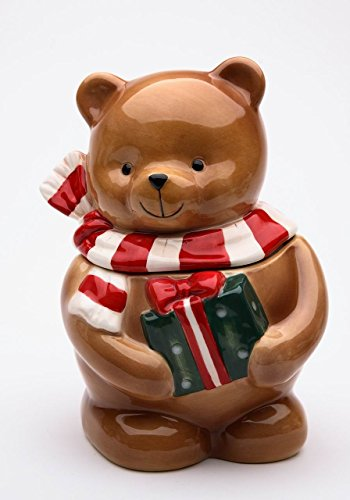 (Cosmos Gifts 56544 Fine Ceramic Christmas Teddy Bear Wearing Scarf with Present Candy Jar, 7-1/4