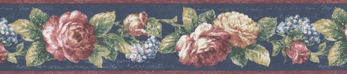 Brewster 418B320 Borders and More Vintage Floral Wall Border, 5.125-Inch by 180-Inch, Blue