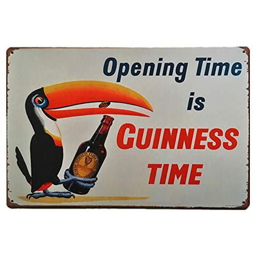 Opening Time is Guinness Time Metal Sign Retro Home Decoration Vintage Tin Sign Posters for Bar Pub Home 12 X 8 Inch