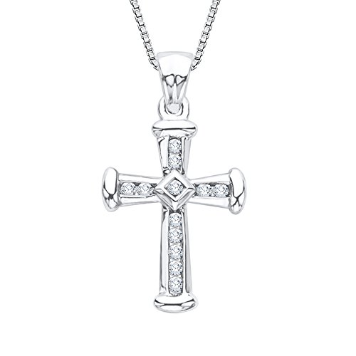 Diamond Cross Pendant Necklace in 10K White Gold (1/4 cttw) (GH-Color, I2/I3-Clarity)