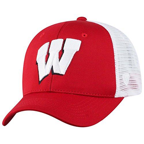Top of the World NCAA-Ranger Trucker Mesh-Adjustable Snapback Hat Cap (Wisconsin Badgers-White, Adjustable)