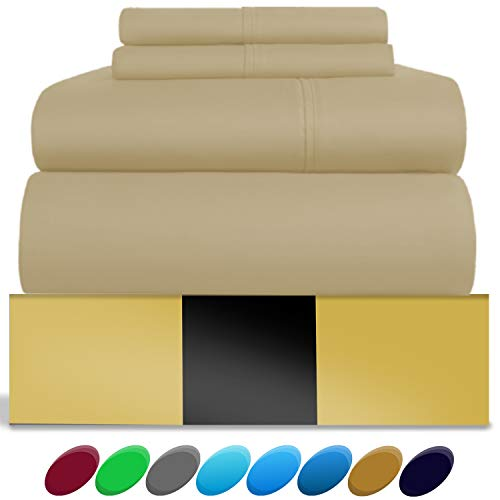 (Urban Hut Egyptian Cotton Sheets Set (4 Piece) 800 Thread Count - Bedspread Deep Pocket Premium Quality Bedding Set, Luxury Bed Sheets for Hotel and Home Collection Soft Sateen Weave (Queen, Sand))