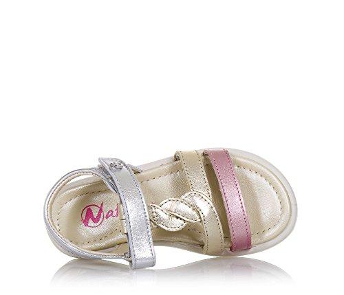 Naturino Rosa, Silberne und platinfarbene Sandale Aus Glanzleder, mit Klettverschluss, Offener Fersenbereich, Mädchen