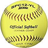 Martin Sports Softball - Optic Yellow, 12'' Leather Cover, NFHS Approved (Pack of 12)