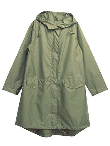 verde Verde Impermeabile Cappotto Donne Cappuccio Impermeabile Di Pioggia Esercito Poncho Con Rainwear LaoZan Outdoor 67HqOq