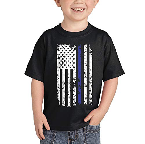 - HAASE UNLIMITED Blue Line American Flag - Support Police Infant/Toddler Cotton Jersey T-Shirt (Black, 24 Months)