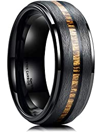 Nature 8mm Black Tungsten Carbide Wedding Band Real Wood Inlay Matte Brushed Finish
