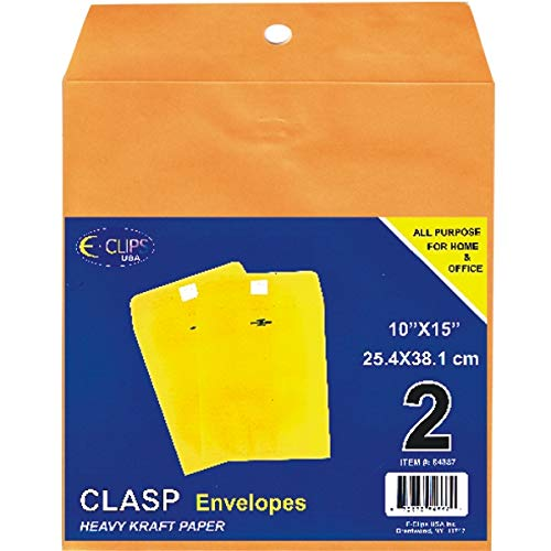 Clasp Envelopes, 10'' x 15'', 2 pk, Case Pack of 48, Ideal for Bulk Buyers by AUKSales