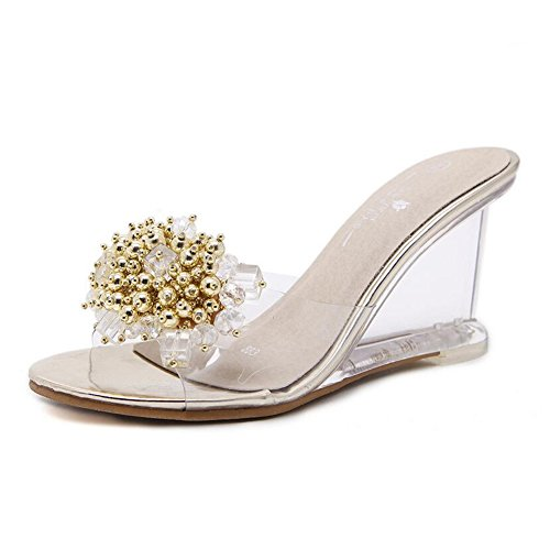 amp; Women's Wedge Color Shoes Size Evening Heel Translucent 39 Club for Glitter Gold Wedding Heels Crystal Spring PVC Summer Shoes Heel Heel Party rgqrHTn