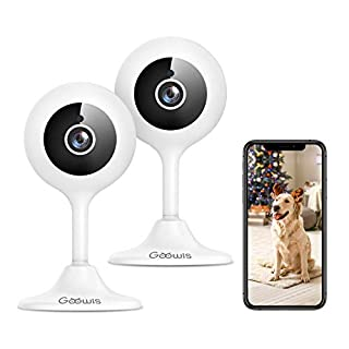 Security Camera Indoor, Goowls 1080p HD 2.4GHz WiFi Wired IP Camera for Home Security Baby/Pet/Nanny Monitor Motion & Sound Detection Night Vision Two-Way Audio Compatible with Alexa, 2-Pack