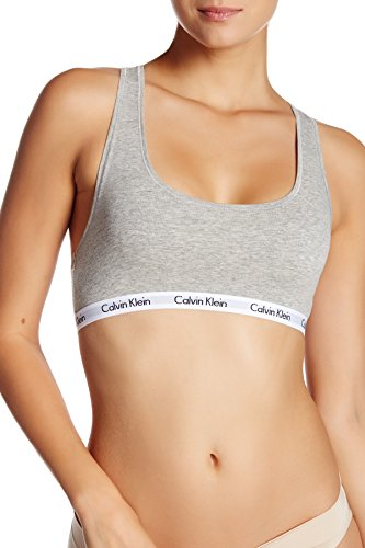 (Calvin Klein Women`s Carousel Logo Bralette (Heather Grey(QP1036-020)/White, Large))