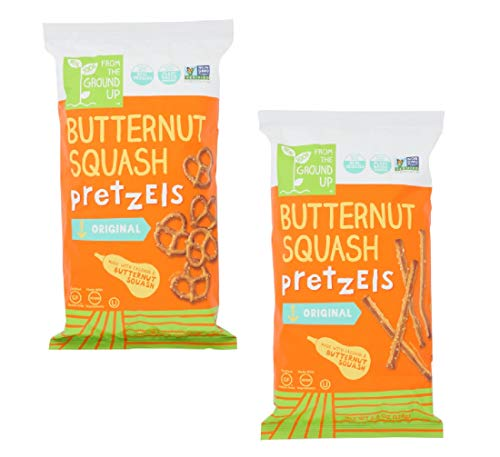 Real Food From the Ground Up Butternut Squash Pretzel Variety Bundle of TWO: One Bag of Sticks and One Bag of Twists ()