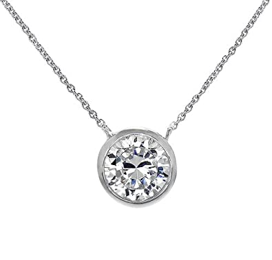 Amazon 925 silver solitaire pendant necklace round bezel set 925 silver solitaire pendant necklace round bezel set 7mm cubic zirconia 16quot 18quot aloadofball Gallery