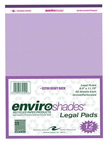 Roaring Spring 74140 Enviroshades Perforated Recycled Stapled/Bound Legal Pad, Letter, 50 Sheets, 50 PT Chipboard Backing, Paper, Orchid (Pack of 12)