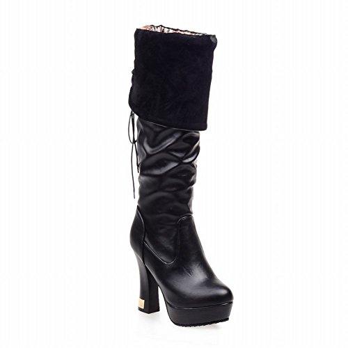 Latasa Damesmode Geplooid Lace-up Hoge Hak Platform Knie Laarzen Zwart