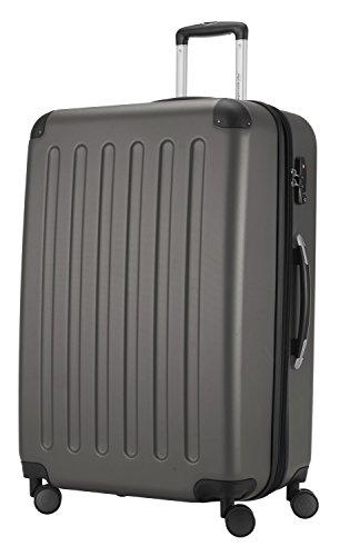 HAUPTSTADTKOFFER® 128 Liter XL Reisekoffer · SPREE · TSA · MATT · NEU 4 Doppel-Rollen · (in 12 Farben) + LogiLink® Flugzeug Audio Adapter (Schwarz) Graphit