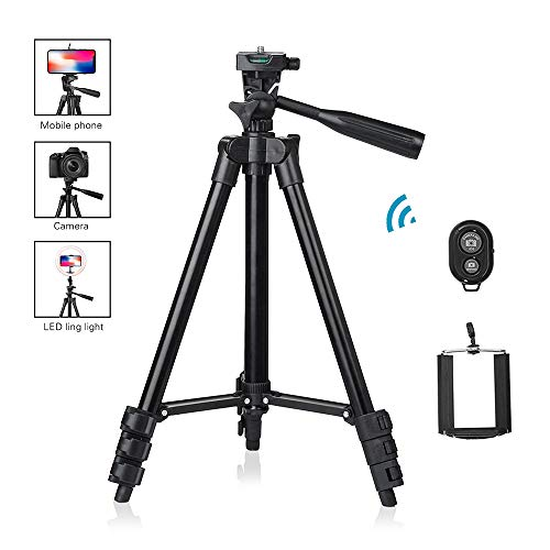 Camera Phone Tripod,Gemwon Aluminum Portable Lightweight 360° Panorama Ball Head Adjustable Rotatable Retractable with Bluetooth Remote Travel Holder for Smartphone,Camera,Led Ring Light