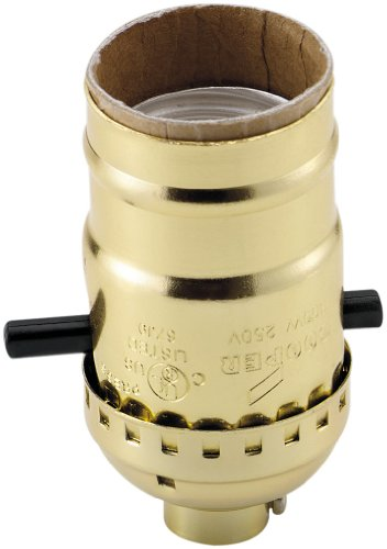 EATON Wiring 940ABD-SP-L 660-Watt Electrolier Medium Base Metal Shell Lamp holder Push Through Switch, Brass Dipped Aluminum