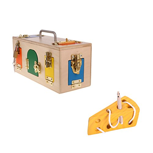 Fityle Montessori Lock Box & Cheese Maze, Kids Early Learning Developing Toys Gift ()