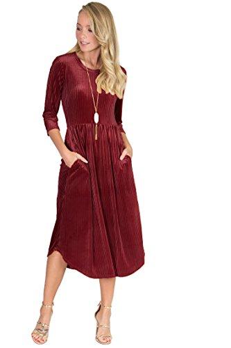 Ruched Waistline Pockets Velvet Dress (Burgandy, Medium) (Burgandy Velvet Dress)